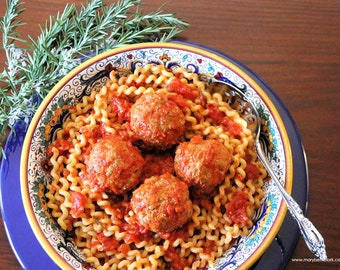 Italian Bison Meatballs in Tomato Sauce with Rosemary, Two Printable PDF Italian Recipes with Photos, Instant Digital Download