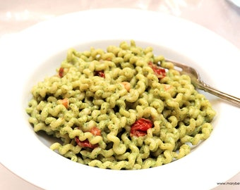 Fusilli Lunghi with Shrimp, Cherry Tomatoes, and Avocado Pesto, Printable PDF Recipe with Photos, Instant Digital Download