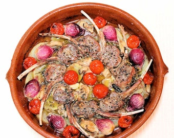 Lamb Tiella with Potatoes, Onions, Mushrooms, and Tomatoes, Printable PDF Italian Recipe with Photos, Instant Digital Download