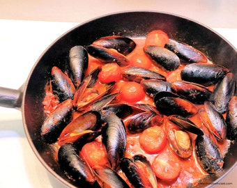 Fresh Mussels and Cherry Tomatoes with 'Nduja Broth