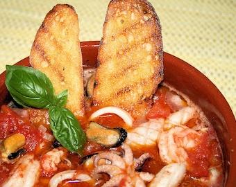 Italian Seafood Stew, Printable PDF Italian Recipe with Photo, Instant Digital Download