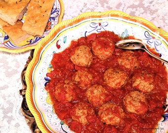Italian Meatballs in Tomato Sauce, Two Printable PDF Italian Recipes with Photos, Instant Digital Download