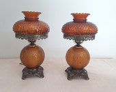 Vintage Amber Hobnail Glass Hurricane Lamps Three Way Lighting