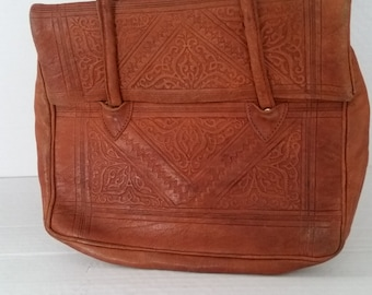 e8f4859647 Vintage 1970's Boho Retro Moroccan leather tooled brown handbag/purse