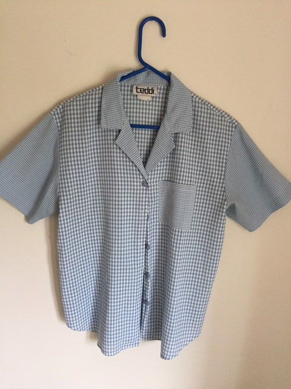 Vintage 1990s Checkered Print Womens Blouse
