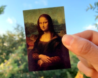 "Mona Lisa by Leonardo Da Vinci 2"" x 3"" gloss sticker, small"