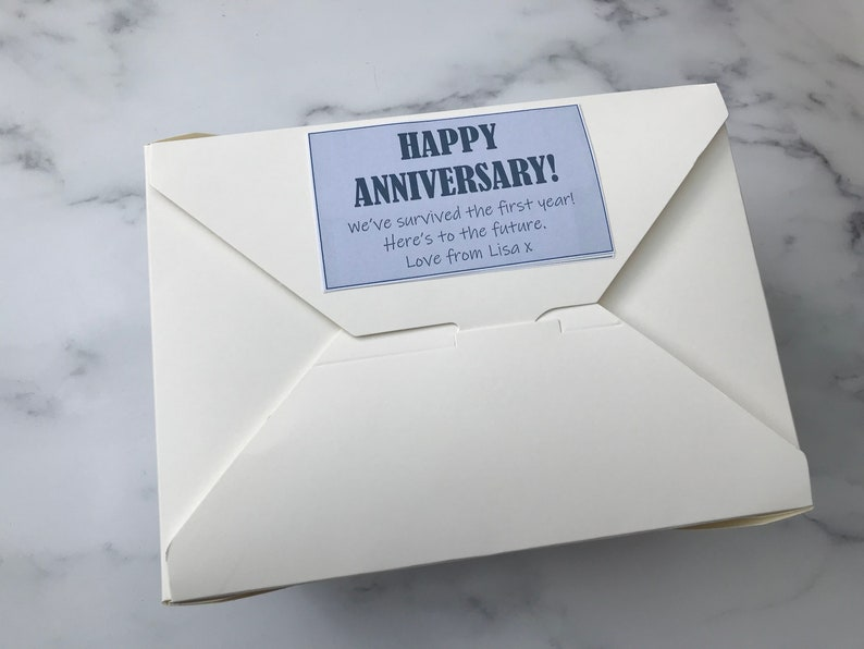 Personalised message Wedding anniversary husband fiance gifts 8 x Pic n Mix sweet bags wife Free postage Sweets ANNIVERSARY GIFT BOX