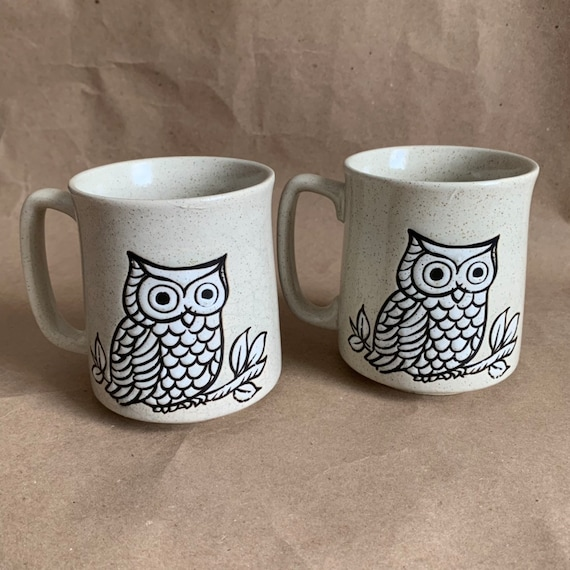Vintage Owl Speckled Brown handle Coffee Animal Mug