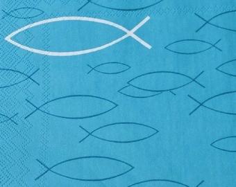 20 napkins fish turquoise petrol communion Peaceful Fish