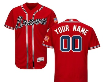 1dd4e5439 Men s Atlanta Braves Majestic Alternate Scarlet Flex Base Collection Custom  Jersey