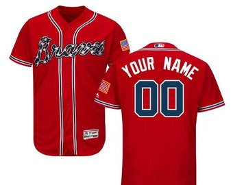 d08ae7a39 Men s Atlanta Braves Majestic Alternate Scarlet Flex Base Collection Custom  Jersey