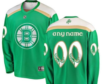 2e593968 Stitched Men's Boston Bruins Fanatics Green 2019 St. Patrick's Day Custom  Jersey Stitched Name And Number