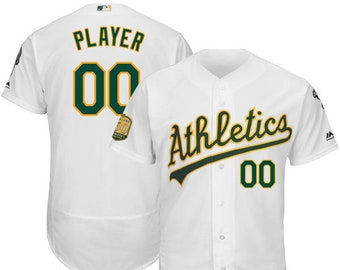 4e9b39073 Mens Oakland Athletics Custom Name   number Flex Base Baseball Jersey 2019