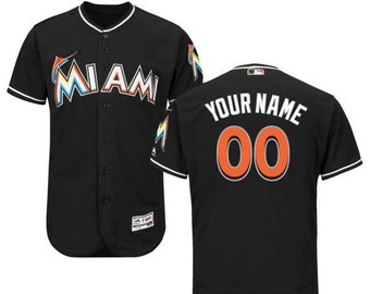 4f04f3956ec Mens Miami Marlins Custom Name   number Flex Base Baseball Jersey 2019