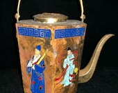 Chinese Antique Hand Painted Brass Teapot With Portraits And Mark