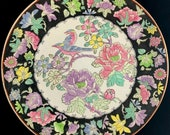 Large Chinese Antique Vintage Famille Rose Porcelain Ceramic Plate With Flowers And Birds