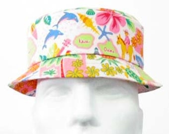 64e5ac91 Hawaii Bucket Hat, Cotton Multi-Color/Pink Map of Hawaiian Islands Dolphins  Whales Turtles, Bucket Hat for Men, Women, and Children