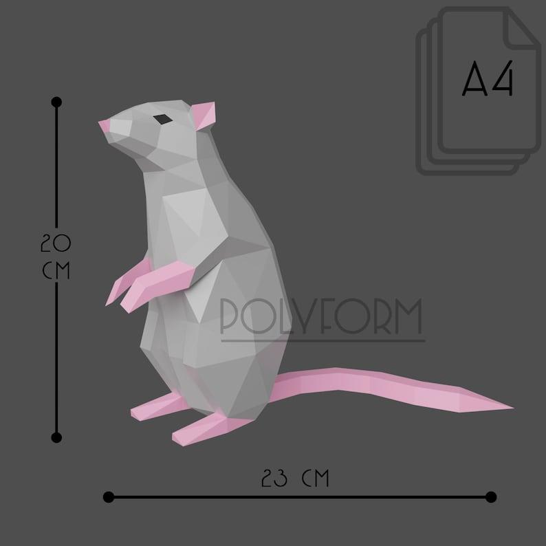Rat Low Poly Mouse Papercraft PDF template