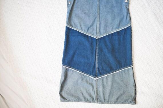 vintage distressed denim apron jumper dress | lon… - image 7