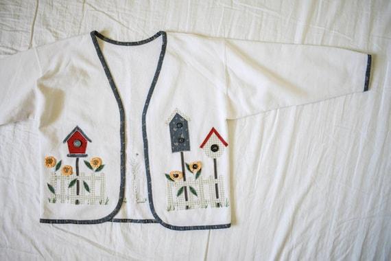 vintage handmade birdhouse sweater coverup