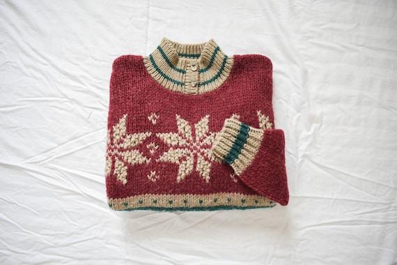 vintage henley knit wool sweater   vintage geometr