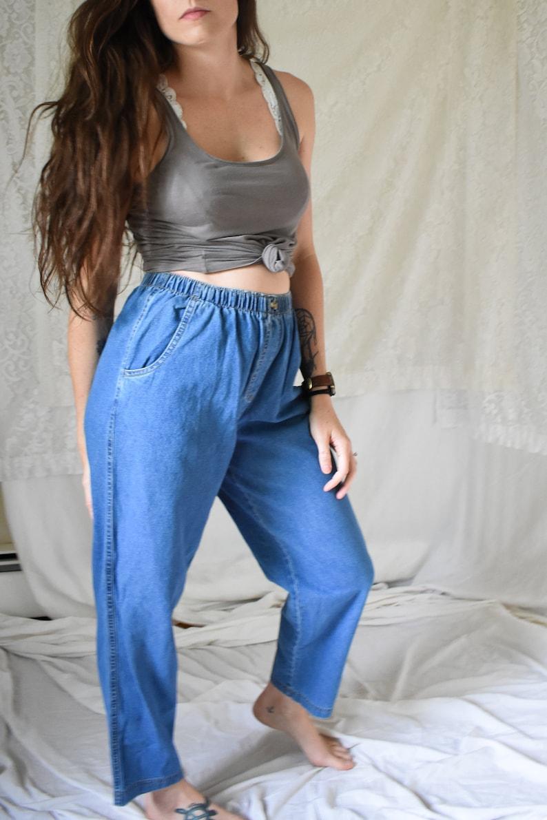 cotton denim pants vintage high waisted cotton pants high elastic waist pants