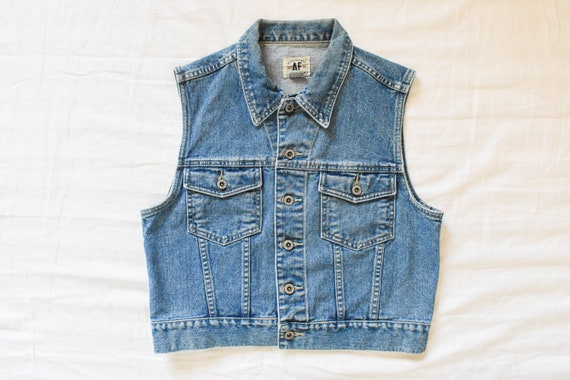 vintage denim trucker vest | 90s trucker denim jea