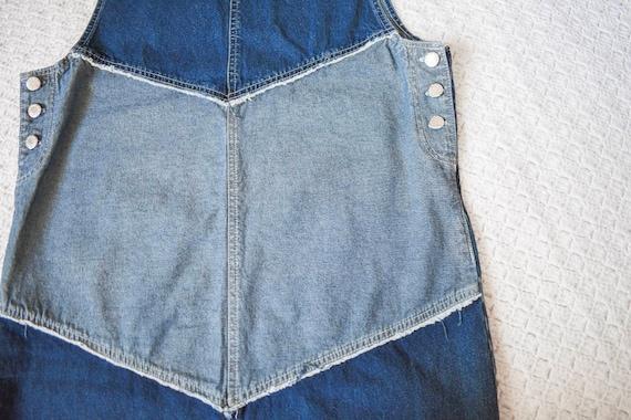 vintage distressed denim apron jumper dress | lon… - image 5