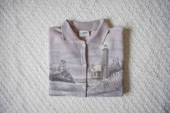 snowy lighthouse vintage oversized cardigan sweate