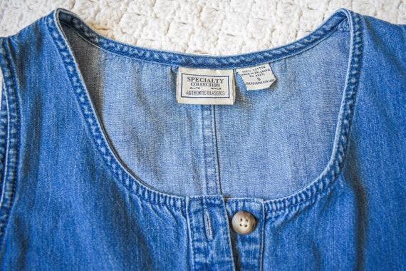 80s 90s vintage denim shift dress | vintage mediu… - image 10