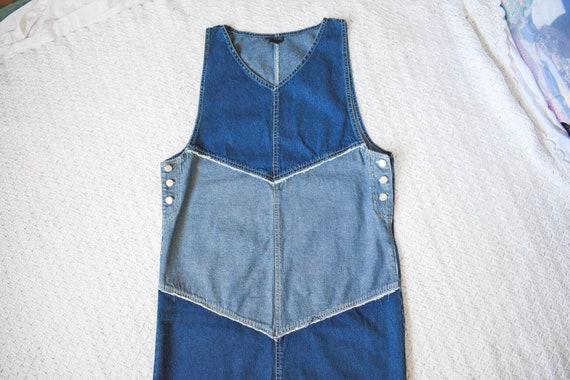 vintage distressed denim apron jumper dress | lon… - image 4