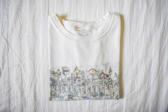 Birdhouse Garden Greetings cropped vintage tshirt