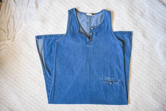 80s 90s vintage denim shift dress | vintage mediu… - image 1