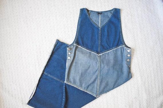 vintage distressed denim apron jumper dress | lon… - image 1