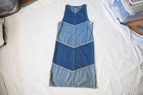 vintage distressed denim apron jumper dress | lon… - image 3