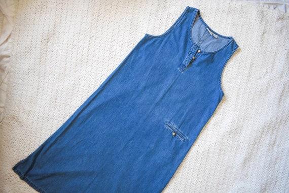 80s 90s vintage denim shift dress | vintage mediu… - image 4