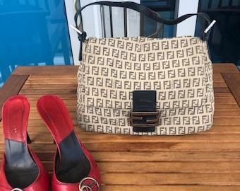38c219939aca Vintage Fendi Zucca Shoulder Bag