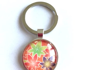 Origami--Washi Paper in Kimono Style -Japan Keychain Unique Handmade.By Japanese Artist.