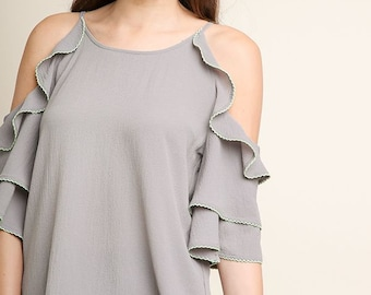 00be6f48ab3 Layered Ruffle Sleeve Open Shoulder Top with Side Slits and Contrast Ruffle  Stitching