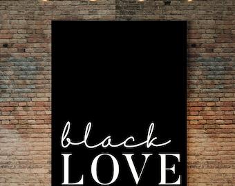 Black Love Poster, Melanin Art, Black Culture, Urban Art, African American Art, Black is Beautiful, Cursive typography, Ethnic, Urban