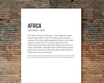 Africa Poster, African Art, African American Art, African print, Word Art Poster, Definition Art, Word Definition Art, Typographic Art