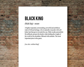 Black King Poster, Definition Art, Black Men, Black King, African King, African Art Print, Black artwork, Black Culture, Inspirational Art