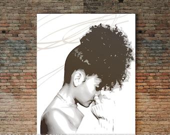 Curly Hair Poster, Black Female illustration Wall Art, ethnic hair art, natural hair print, black woman, brown girl, natural hair gift