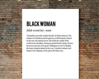 Black Woman Definition Poster, Black Girl, Black Woman Decor, Phenomenal Woman, Empowerment, Self-Love, African Female, Above Bed Art,