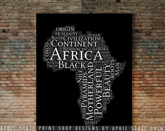 Africa Poster, Typography Word Art, African Art, Continent, Map, Definition Art, Black Art, Geography Poster,