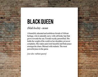Black Queen Poster, Melanin, Definition Art Print, Typographic Art, Black girl Art, Black Girls Rock, Beautiful Black Art, Inspirational