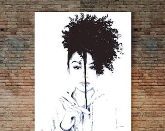 Natural Hair Poster, Natural Hair Poster, Afro Girl, Black Girl Art, Curly Hair Art, Ethnic Art, African American Wall Art, Urban, Woman