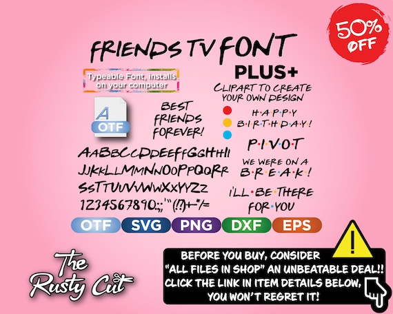 Friends FONT inspired by TV show, Friends SVG, Alphabet svg, friends font,  font svg, font, Silhouette, Cricut, t-shirts, birthday