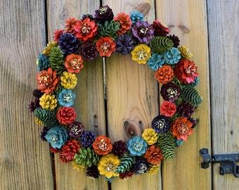 Farm House Wreath, Fall is in the Air Pine Cone Flower Wreath, PineCone Flower Wreath