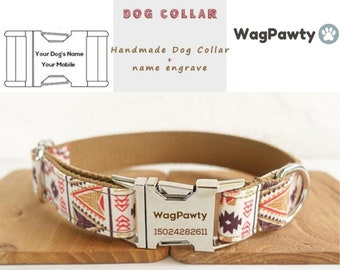 4c7dee290e2b Personalized Laser Engraved Dog Collar, Boho Dog Collar Custom Dog Collar, Pet  Collar, Puppy Collar Small Medium Large, Leash and Collar Set
